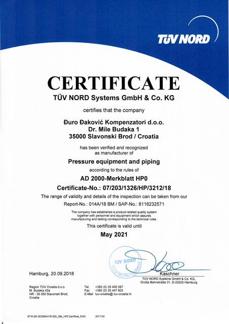 AD 2000 HP0 2018-2021 EN Certificate