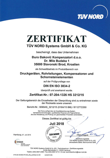 Certificates and Type Approvals   Đuro Đaković Kompenzatori d.o.o.